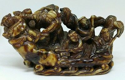 Antique Chinese Stone Carving Of 8 Immortals Crossing The Sea
