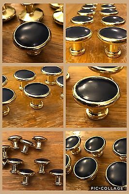 10 Knobs Vintage Cabinet Door Drawer Pulls Handles Cobalt Navy Blue Bright Brass