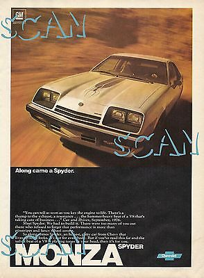 1977 Chevy Monza Spyder Ad Vintage Magazine Advertisement Chevrolet V8