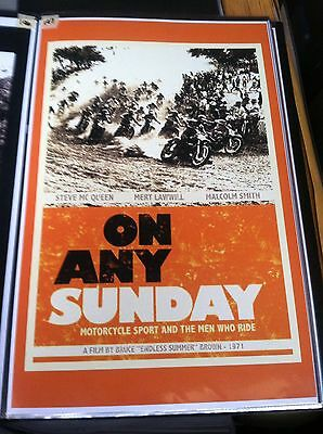 Vintage On Any Sunday Movie Poster Man Cave Advertising Steve McQueen