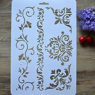 New Vine Flower Layering Stencils Walls Painting Scrapbook Embossing Paper Album