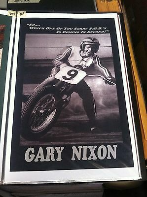 Vintage Gary Nixon Tongue Out Flat Track Racing Poster Man Cave Advertising