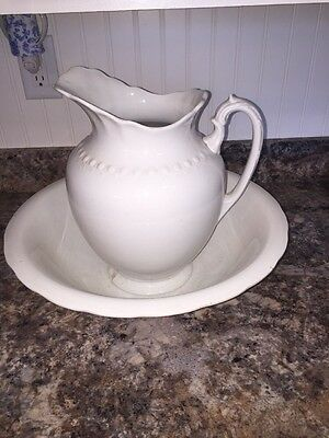 Antique Wash Pitcher or Ewer The Colonial Co. Wash Basin Set White