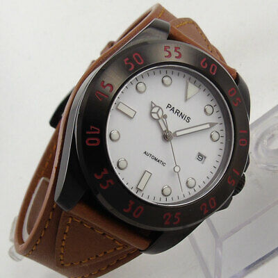 New 43mm Parnis sapphire glass black dial date 20atm miyota automatic Mens watch