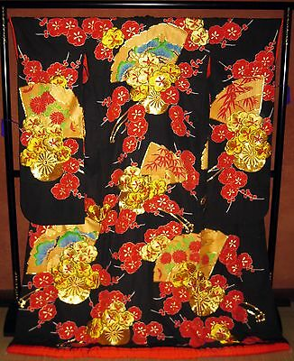 Oriental WALL HANGING ART KIMONO DECOR VINTAGE JAPANESE WEDDING UCHIKAKE Black