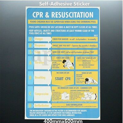 2017 Plastic CPR & Resuscitation Chart DRSABC Pool Spa Safety Sign Stickers AU