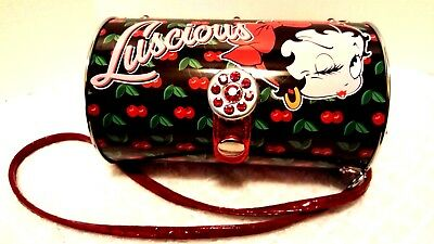 Collectible Betty Boop Cherries Luscious Cylinder Tin Tote Handbag Retro
