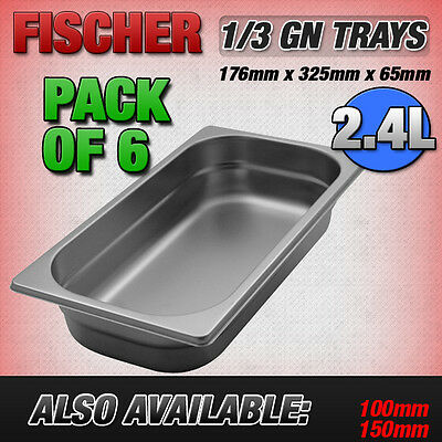 """""""BRAND NEW"""" 6 PACK OF 1/3 STAINLESS STEEL GASTRONORM TRAYS 176mm x 325mm x 65mm"""