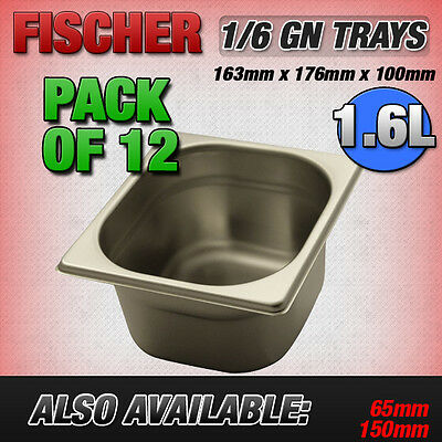 """""""BRAND NEW"""" 12 PACK 1/6 STAINLESS STEEL GASTRONORM TRAYS 163mm x 176mm x 100mm"""