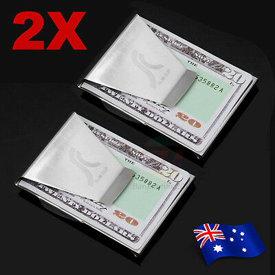 2Pcs Double Sided Money Clip Cash Note Credit Card Holder Stainless Steel Wallet
