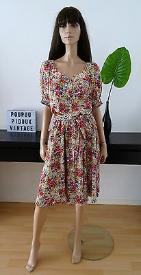 Robe vintage fleurie VIRGINIE Paris Made in France taille 36 / uk 8 / us 4