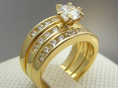Cathedral 18ct 18K Yellow Gold GF Wedding Engagement 3 RING SET Size 8 & Q