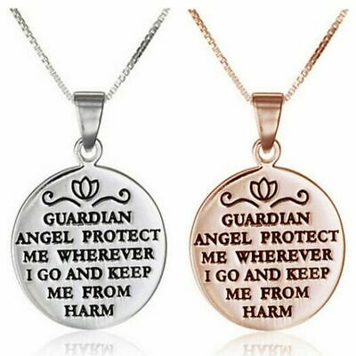 925 Silver Plated 'Guardian Angel Protect Me' Reversible Necklace Pendant Gift