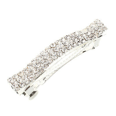 Silver Plated Crystal Rhinestone Hair Barrette Clip Wedding FASHION SN
