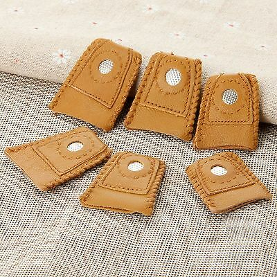 2pcs Leather Thimbles Finger-Fit Protector Shield Grip with Metal Tip for Sewer