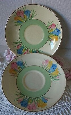 2 Clarice Cliff Bizarre Spring Crocus Saucers- Hand Painted