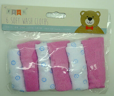 New Baby Pack 6 x Pink Soft Wash Cloths Flannels