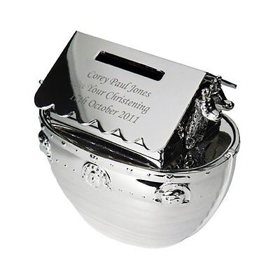 Beautiful Engraved Silver Finish Noahs Ark Moneybox Nickel Plated