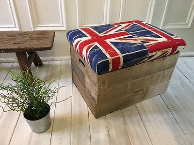 Upholstered Union Jack fabric Wooden crate seat - Personalised- 2 Wood finishes