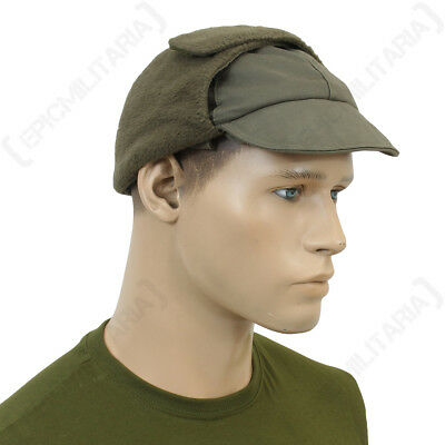 German Olive Green Winter Cap - Genuine Army Surplus Hat Ear Flaps Soldier Sizes