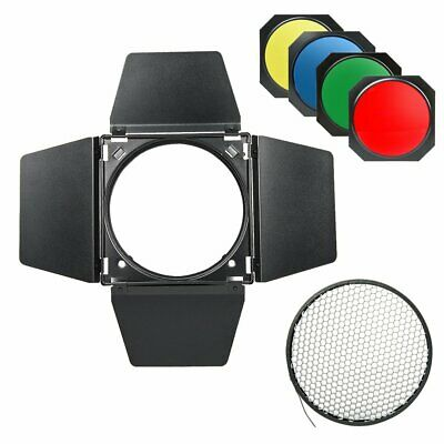 BD-04 Bowens Mount Barn Door + Honeycomb Grid + 4 Color Filters for Flash Strobe