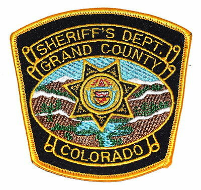 GRAND COUNTY COLORADO CO Police Sheriff Patch STATE SEAL MOUNTAINS SNOW OLD ~