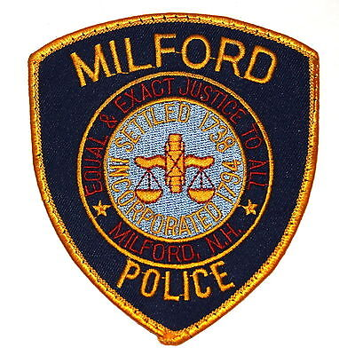 MILFORD NEW HAMPSHIRE NH Police Sheriff Patch CITY SEAL SCALE OF JUSTICE ~
