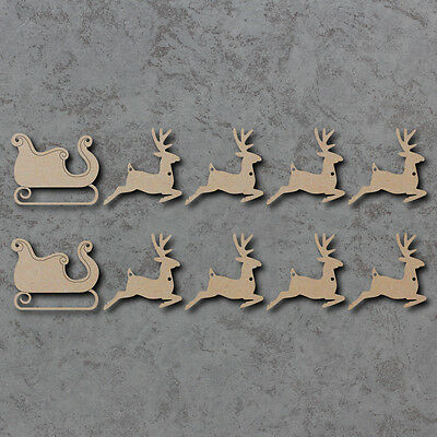 Sleigh and Reindeer Bunting Set x2 - Christmas Wooden Craft Bunting Blanks
