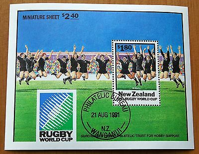New Zealand 1991 Rugby World Cup Stamp Sheet VFU CTO