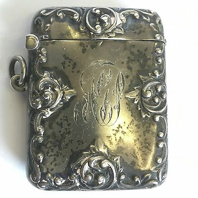 Antique Solid Silver Vesta Case 1901 Henry Matthews Ornate 5cm X 4.5cm