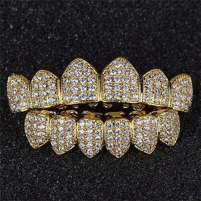 18K Gold Plated High Quality Top & Bottom Mouth Teeth Grills AC