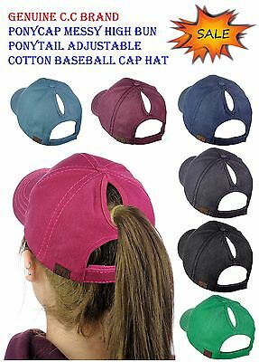NEW! C.C Ponycap Messy High Bun Ponytail Adjustable Cotton Baseball CC Cap Hat