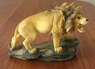 "Lion Cat Statue Polystone Wild Animal Figurine 3.25"" Tall 5"" Long"