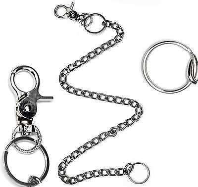 Mens Large Metal Hipster Silver Security Chain Key Wallet Jeans Clip Belt