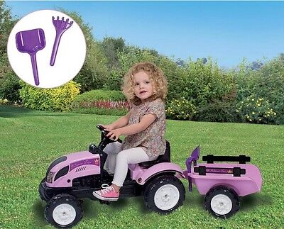 Ride On Pedal Tractor And Trailer, Kids indoor & Outdoor Tractor  - GIRLS