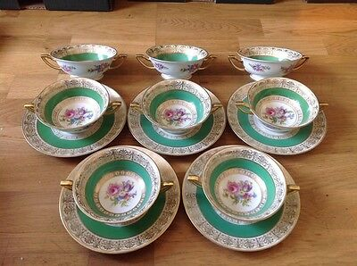 RARE Vintage Thomas ( Rosenthal ) 8 Soupe Coupes & 5 Saucers Pattern No. 3841
