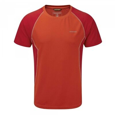 Craghoppers Mens Vitalise Sports Wicking Base Layer Walking Hiking T-shirt Red
