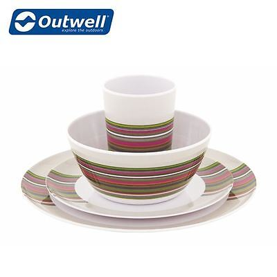 Outwell Blossom Melamine Couple Set in Magnolia Red Caravan Motorhome Set