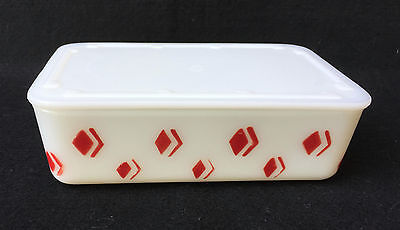 Rare Vintage Mckee White W/ Red Diamonds Leftover Refrigerator Dish W/ Lid