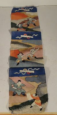 Antique Chinese Embroidered Kesi Kosu Panel Warriors Silk Robe Qing Dynasty