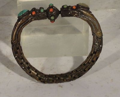 Antique Chinese Brass Silver plate Bangle Dragons Inlaid Turqouise Bracelet