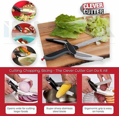 Clever Cutter 2-in-1 Kitchen Food Chopper Knife & Cutting Board Scissors Slicers