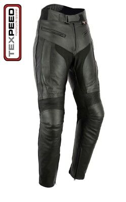 Texpeed Mens RS Sports Leather Motorcycle Trousers With Removable Armour