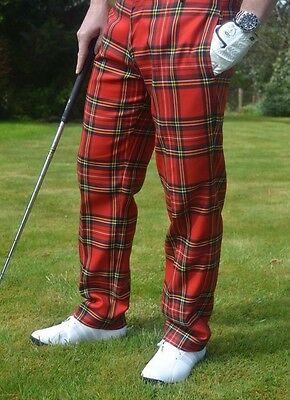 Scottish Royal Stewart Tartan Golf Elasticated Waist Trousers Brand New