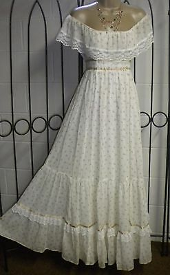Vintage 70s Gunne Sax Dress White Calico Floral Lace Boho Wedding Prairie Maxi 7