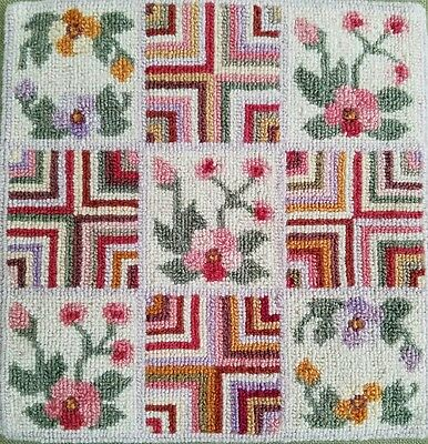 VTG 15x15 FRAMED PRIMITIVE HAND HOOKED WOOL RUG FLORAL GEOMETRIC ART FABRIC WOOD