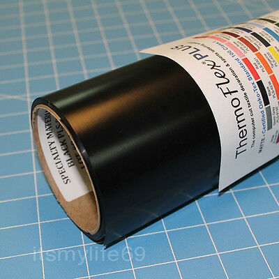 "Thermoflex Plus 15"" x 3'  BLACK  Heat Transfer Vinyl Specialty Material"