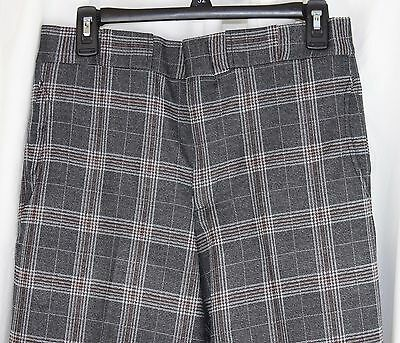 Vintage New NOS Kings Road Mens Pants Double Knit Plaid Poly Mod Hipster 32x29