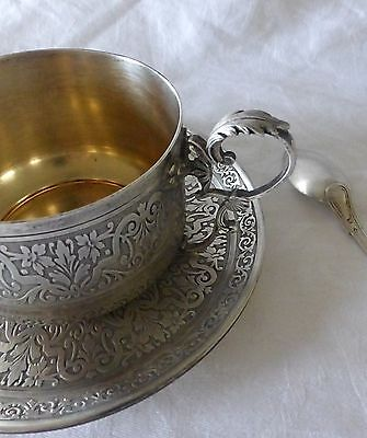 BIG French CHOCOLATE CUP and its SAUCER + spoon in STERLING SILVER 19th Century