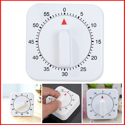 60 Minutes Kitchen Timer 1 Hour Hand Winder Mechanical Mount Plastic Clock Wall